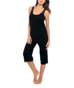 Look at this #zulilyfind! Black Heather Lace-Trim Pajama Set - Women by kathy ireland #zulilyfinds