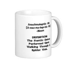 Arachnoleptic fit coffee mug, funny spider arachnophobia fear of spiders mug