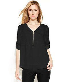 148785da37d74c Calvin Klein Long-Sleeve Zip V-Neck Blouse   Reviews - Tops - Women - Macy s