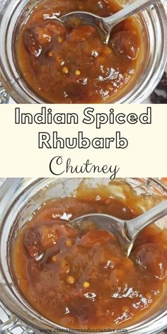 This easy Spicy Rhubarb Chutney is flavored with Indian spices and raisins - my favorite savory rhubarb recipe! It's perfect for BBQs, with pork chops and makes a great food gift! Vegan, too! Chutney Recipes, Jam Recipes, Great Recipes, Favorite Recipes, Rhubarb Recipes For Canning, Chutneys, Easy Healthy Recipes, Vegetarian Recipes, Sauce Barbecue