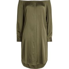 DKNY Silk Dress (€259) ❤ liked on Polyvore featuring dresses, green, green silk dress, brown high low dress, green high low dress, dkny and off shoulder dress