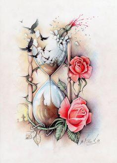 Phác họa hình xăm hoa hồng và đồng hồ