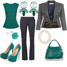 """Not sure about this jacket, but love the """"pop"""" of color. Casual Friday Outfit, Dressy Outfits, Cute Outfits, Work Outfits, Work Fashion, Fashion Outfits, Fashion Ideas, Women's Fashion, Business Outfits"""