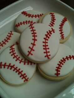 Baseball Sugar Cookies with Royal Icing by LolosBakeShop on Etsy