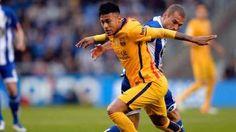 Neymar Jr durante un momento del partido ante el Deportivo de la Coruña