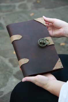 Steampunk Leather Gear Clasp Journal. $45.00, via Etsy.
