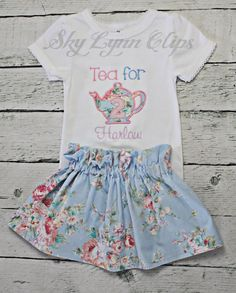 Tea for Two Personalized Birthday Embroidered by SkyLynnCo on Etsy