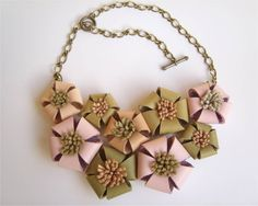 Leather flowers necklace by leatherlovesTOSCO on Etsy, $44.00