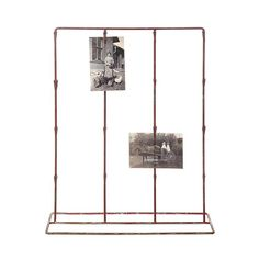 Vintage Style Red Clip Stand | dotandbo.com I love metalware. I love the organizational side of life and instead of having an old photo album out, this you can change out; or if you're working on a project, this  puts it all in front of you.