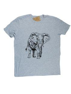 565a0fd5402674 Mens TShirt - Elephant TShirt - Animal TShirt - African T Shirts - Funny  Tshirt - Mens Grey Tee Shirt Funny Tees - Grey Shirts S M L XL 2XL