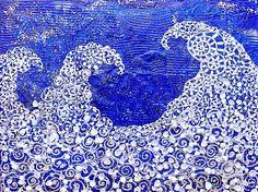"INTIMATE REFLECTIONS 3  11.81"" x 15.75""  /  30 x 40 cm Acrylic, pastes, shells, powders, glitters, swarovski crystals on canvas"