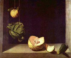 Sánchez Cotán: Bodegón con manzana, col, melón y pepino o también Naturaleza muerta con frutos, h. 1602, óleo sobre lienzo, 65,5 × 81 cm, Fine Arts Gallery de San Diego (California).