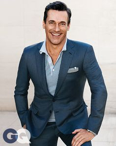 Jon Hamm. Polo shirt and suit by Brioni. Vintage pocket square by Modern Amusement. Watch by TAG Heuer.