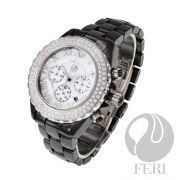 "FERI Ashton  - Hi-tech construction - Chronograph - cubic zirconia face - Silver roman numerals - Sapphire crystal glass - 330 feet of water resistance - Scratch resistant  - Stays closed with a butterfly clasp - Band Length: 6""  Invest with confidence in FERI Designer Lines."