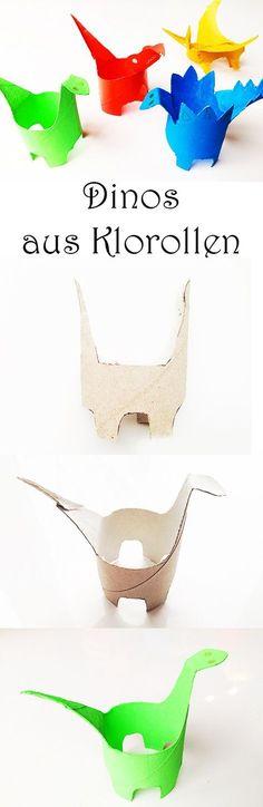 Dinos basteln mit Kindern. Dinosaurier aus Klorollen Klopapierrollen Papprollen basteln
