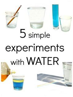 Super simple & fun water science... Includes Bending Pencil Experiment, Rainbow Water Experiment, Oil vs. Water Experiment, Volume Experiment, and Surface Tension Experiment.