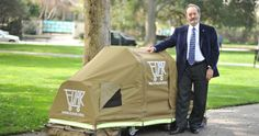 EDAR (Everyone Deserves a Roof)--portable shelter that folds up into a shopping-cart-sized vehicle.