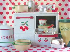 Vintage Toy Kitchen Tin Play Stove Red by LittleRedPolkaDots, $55.00