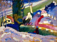 Collection Online   Vasily Kandinsky. Winter Landscape with Church (Winterlandschaft mit Kirche). 1910–11 - Guggenheim Museum