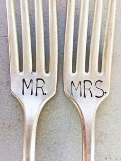 Mr and Mrs Forks Stamped Forks Stamped Silver by SweetThymeDesign Best Wedding Gifts, Wedding Wishes, Our Wedding, Wedding Ideas, Dream Wedding, Wedding Decorations, Vintage Silver, Antique Silver