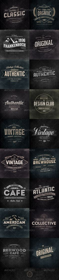 18 Retro Typographic Insignia and Badges Bundle - Badges & Stickers Web Elements