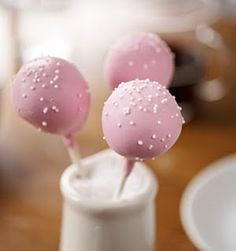 How to make Starbucks cake pops (Recipe) - in a little milk jug on the tables for your guests or even lay on a folded napkin with initials on for table names/favours