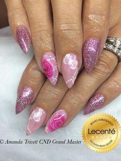 #nails by Amanda Trivett using the NEW #firefly #fireworks #glitter with #CND Shellac blush teddy & #handpainted design #lovelecente #nailart #pinknails