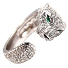 Retro CARTIER Diamond Panther Platinum Ring