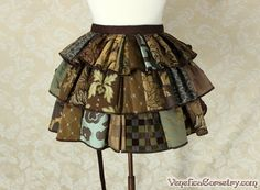 "Steampunk Ruffle Bustle Top Skirt - 3 Layer, Sz. S - Brown & Seafoam Patchwork - Best Fits up to 42"" Waist or Upper Hip by VeneficaCorsetry on Etsy https://www.etsy.com/listing/261117810/steampunk-ruffle-bustle-top-skirt-3"