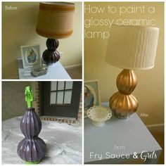 How to Paint a Glazed Ceramic Lamp Tutorial   I have a glossy ceramic vase I'd like to re-do!