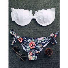Tiny Floral Print Strapless Padded Bikini Set ($12) ❤ liked on Polyvore featuring swimwear, bikinis, padded swimwear, floral swimwear, bikini beachwear, bikini swimwear and floral two piece