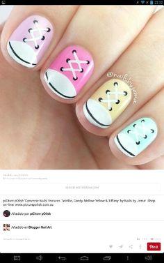 Converse Sneakers nail art