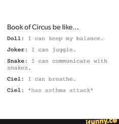 Kuroshitsuji: Book of Circus Black Butler Texts, Black Butler Comics, Black Butler Funny, Otaku, Yes My Lord, Book Of Circus, Sebaciel, Butler Anime, Black Butler Kuroshitsuji