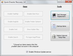 Quick Disaster Recovery restores Windows functionality after attacks - Malware may disable the system's Task Manager for example, the Command Line, search, or the option to run programs from the start menu. Quick Disaster Recovery has been designed to restore functionality that gets commonly targeted by malicious software. | gHacks