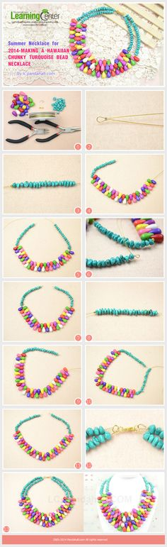 Summer Necklace for 2014-Making a Hawaiian Chunky Turquoise Bead Necklace #jewelry #making #pandahall