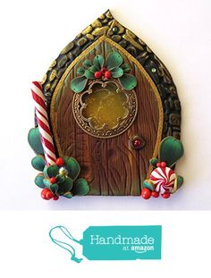 Elf Door, Handmade Fairy Door for the Holidays from claybykim http://www.amazon.com/dp/B01786YZYA/ref=hnd_sw_r_pi_dp_378lwb1PXC2J5 #handmadeatamazon