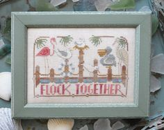 Flock Together To The Beach #4 : Hands on Designs Cathy Habermann counted cross stitch patterns Ocean Sea embroidery by thecottageneedle
