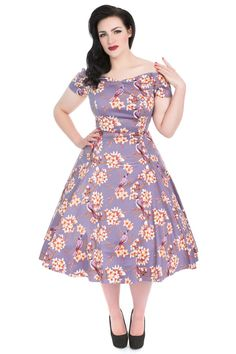 New instore and online   Lady V Liliana Dress - Plumeria Floral & Exotic Birds