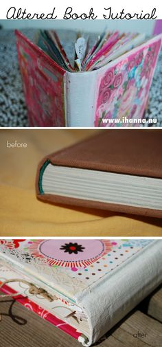 It's time for a tutorial on how to alter a vintage book and make it into your very own, personalized art journal! How to by iHanna of www. Diy Altered Books, Altered Art, Folded Book Art, Book Folding, Handmade Journals, Handmade Books, Handmade Notebook, Book Journal, Art Journals