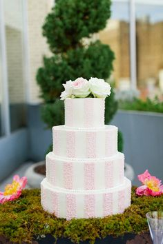 pink striped cake with a moss base | Morgan Trinker #wedding