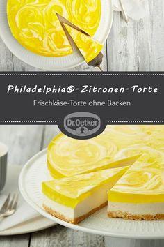 Philadelphia®-Zitronen-Torte: Frischkäse-Torte ohne Backen, mit Zitronen-Guss #selberbacken #kaffeetafel #familienfest
