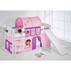 IDA Dora Children Bed In White With Sliding And Curtains #childrenbunk #doratheexplorer