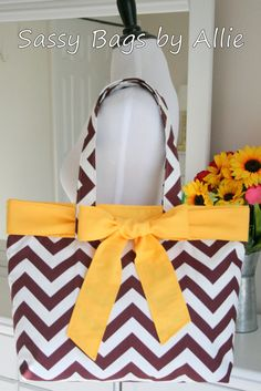 Florida State University Handbag-Maroon and White Chevron with Gold Bow-Seminoles Canvas Tote on Etsy, $45.00