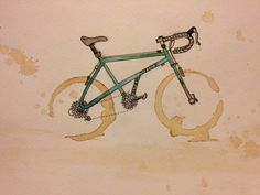 Watercolor, pen and ink and of course. Ink Doodles, Coffee Staining, Cycling Art, Silver Lake, Coffee Art, Bike Life, Watercolor And Ink, Art School, Bicycle