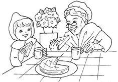 Dia De La Abuela Para Colorear Caperucita Roja Lobo Y Abuelita 2 Gif