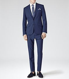 Mens Bright Blue Wool Two Piece Suit - Reiss Eris