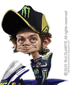 Valentino Rossi by Rui Duarte Funny Caricatures, Celebrity Caricatures, Motocross, Valentino Rossi Logo, Gp Moto, Racing Motorcycles, Cool Bikes, Famous People, Character Design