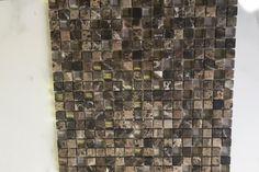 "Dark Emperador Tumbled Glass Mosaic 5/8"" x 5/8"" – Sognare Tile, Stone & Sinks Co."
