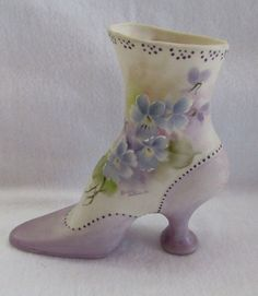 FINE PORCELAIN HIGH TOP BUTTON SLIPPER SHOE HAND PAINTED VIOLETS SIGNED