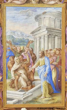 Farnese Hours, M.69, fol. 80r - Christ: Miracle of raising Lazarus -- Lazarus, draped in burial cloth, face visible, left arm raised, is lifted from tomb by three men. Christ, nimbed, right arm extended toward Lazarus stands next to tomb. At left, stand group, some only tops of head visible, of men, one raising both arms, and women, two or three veiled, one covering lower half of face.